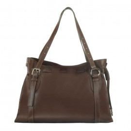 Large Sauvage Leather Tote / Satchel Bag, Brown