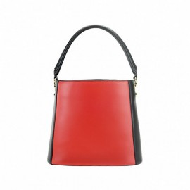 Calfskin Leather  Drawstring Bag Black & Red