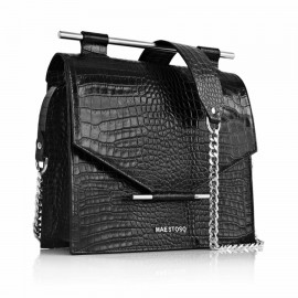 Medium Crocodile-Stamped Square Bag, Black