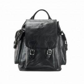 Men Large Calfskin Leather Backpack, Black