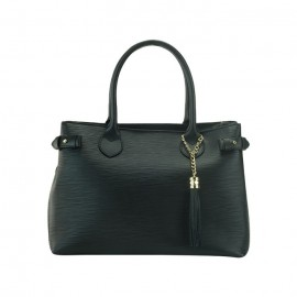 Medium Leather satchel Bag, Black