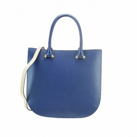 Simply-Chic Medium Smooth Calfskin Leather Top-Handle Bag, Blue
