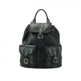 Medium Calfskin Leather Backpack, Black