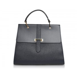 Large Pebble Leather Top-Handle Bag, Black