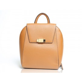 Flap Pebbled Leather Backpack, Cognac