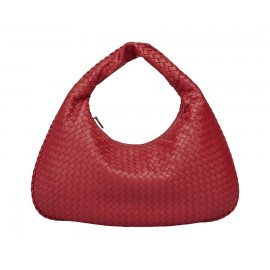 Large Intereciata Woven Leather Hobo Bag , Bordeaux