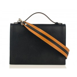 Top Handle Grained Leather Shoulder Bag, Black