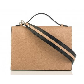 Top-Handle Grained Leather Shoulder Bag, Taupe