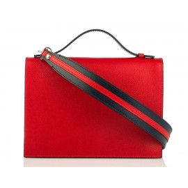 Top Handle Grained Leather Shoulder Bag, Red