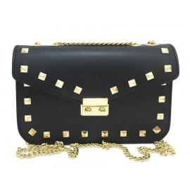 Rock Stud Calfskin Leather Chain Crossbody Bag, Black