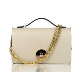 Small Top-Handle Calfskin Chain Crossbody Bag, Beige