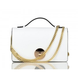 Small Top-Handle Calfskin Chain Crossbody Bag, White