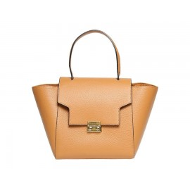 Small Top-Handle Leather Bag, Cognac