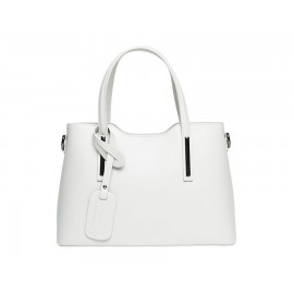 Small Leather Top Handle Bag, Cream