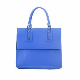 Large Leather Satchel Bag, Royal Blue