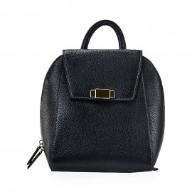 Flap Pebbled Leather Backpack, Black