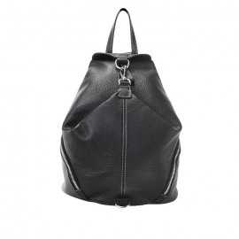Large Grained Leather Backpack, Black