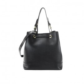 Saffiano Leather Drawstring Bag, Black