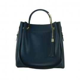 Medium Leather Bucket Bag, Navy Blue