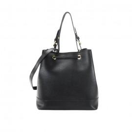 Saffiano Leather Drawstring Bag, Black