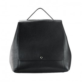 Pebbled Leather Backpack, Black