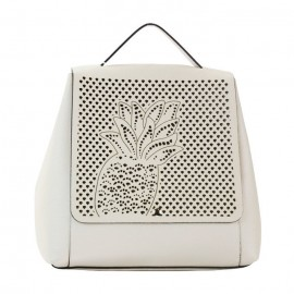 Laser Cut Pebbled Leather Backpack, Beige