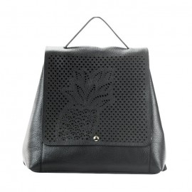 Laser Cut Pebbled Leather Backpack, Black