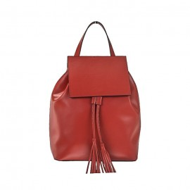 Rich Calfskin Leather Backpack, Red