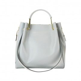 Medium Leather Bucket Bag, Silver / Gray
