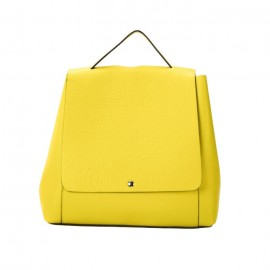 Pebbled Leather Backpack, Yellow