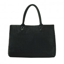 Large  Woven Leather Tote Bag, Black