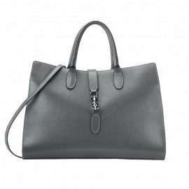 Large Saffiano Tote Leather Bag,  Dark Gray