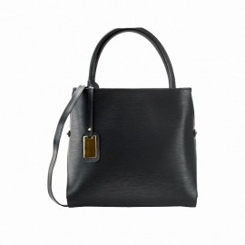 Large Leather Satchel Bag, Black