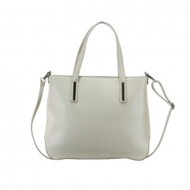 Large Zip Calf Leather Tote Bag, Taupe