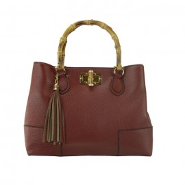 Bamboo Handle Leather Satchel Bag, Bordeaux