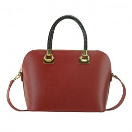 Saffiano Lux Satchel Bag, Bright Red