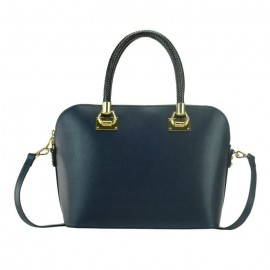 Saffiano Lux Satchel Bag, Navy Blue
