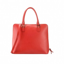 Large Grained Leather Tote Bag, Red