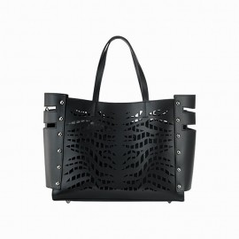 Medium Smooth Leather Tote Bag, Black
