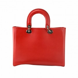 Small Saffiano Leather Top Handle Bag, Red